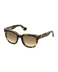 Balenciaga Clear Bridge Plastic Square Sunglasses Black Havana Rose Gold