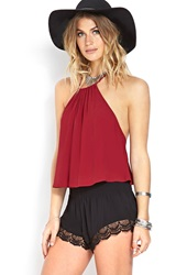 Forever 21 Whimsical Cutout Halter Top Red