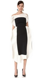 A.W.A.K.E. Tuxedo Frill Dress Black White