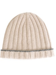 Brunello Cucinelli Ribbed Beanie Nude And Neutrals