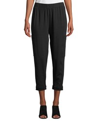 Eileen Fisher Tapered Leg Heathered Cropped Slouch Pants Plus Size Black