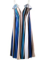 Prabal Gurung Striped Pleated Dress Blue