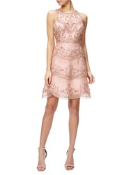 Adrianna Papell Halterneck Beaded Cocktail Dress Rose Gold