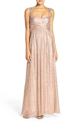 Amsale Women's 'Loire' Sweetheart Neck Sequin Gown Latte