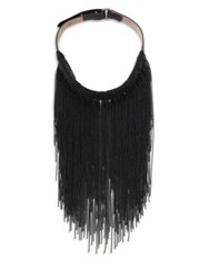 Brunello Cucinelli Brass And Leather Fringe Necklace Black