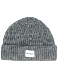 Dondup Logo Patch Knitted Beanie Men Acrylic Wool One Size Grey