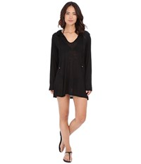 Athena Cabana Solids Hooded Tunic Cover Up Black Women's Swimwear