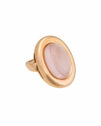 Poiray Indrani 18K Rose Gold Oval Rose Quartz Ring Pink