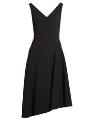 Osman Elizabeth Asymmetric Hem Crepe Dress Black
