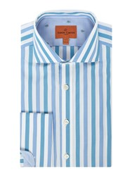 Simon Carter Men's Bold End On End Stripe Aqua