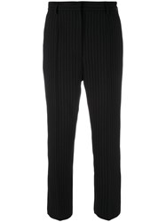 Maison Martin Margiela Mm6 Pinstripe Cropped Trousers Black