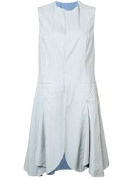 Renli Su Sleeveless Skirted Jacket Women Cotton M Blue
