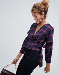 Parisian Check Wrap Top Navy Redcheck