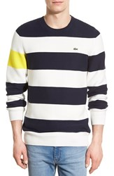 Men's Lacoste Colorblock Stripe Crewneck Sweater Navy Blue Cliff