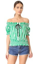 Caroline Constas Peasant Top Green White Stripe