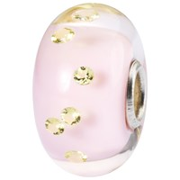 Trollbeads Sterling Silver Murano Glass Foliage Bead Charm Pink Yellow