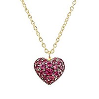 Finn Ruby Puffed Heart Necklace Yellow