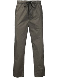 En Route Drawstring Cropped Trousers Men Cotton 2 Green