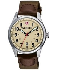 Wenger Men's Swiss Terragraph Brown Rugged Nylon Strap Watch 43Mm 0541.108