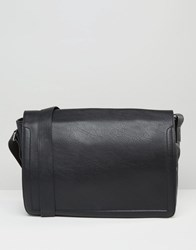 Asos Satchel In Faux Leather With Piping Detail Black