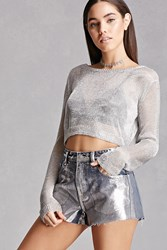 Forever 21 Pixie And Diamond Denim Shorts Blue Silver
