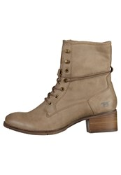 Mustang Laceup Boots Taupe Beige