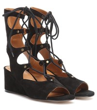 Chloe Foseter Suede Gladiator Wedge Sandals Black