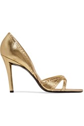 Roger Vivier Metallic Smooth And Perforated Leather Pumps Gold