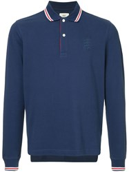 Kent And Curwen Classic Longsleeved Polo Shirt Blue