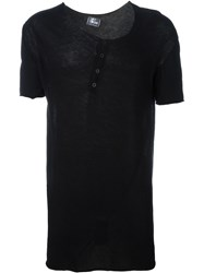Lost And Found Ria Dunn Asymmetric Button Down Front T Shirt Black