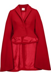 Delpozo Cape Effect Wool Blend Crepe Jacket Red
