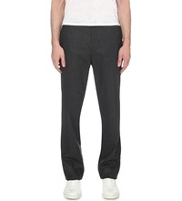 Sandro Slim Fit Straight Wool Trousers Dark Grey