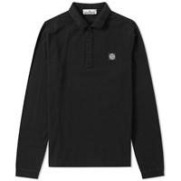 Stone Island Long Sleeve 3 Button Polo Black