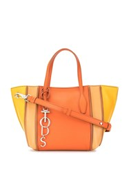 Tod's Small Colour Block Tote Orange