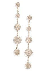 Nordstrom Pave Starburst Drop Earrings Clear Gold