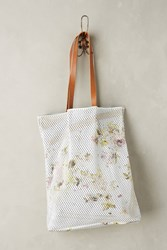Anthropologie Perforated Floral Tote Ivory