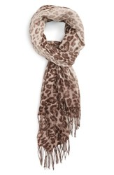 Nordstrom Women's Animal Print Wool And Cashmere Wrap Taupe Combo