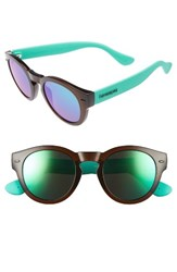 Havaianas Women's Trancoso 49Mm Mirrored Round Sunglasses Brown Turquoise Brown Turquoise