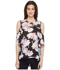 Vince Camuto Short Sleeve Poetic Bouquet Sheer Yoke Sleeve Blouse Rich Black Women's Blouse