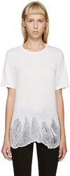 R 13 Ivory Shredded T Shirt