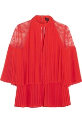 Elie Saab Lace Paneled Pleated Georgette Blouse Red