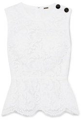 Adam By Adam Lippes Cotton Blend Lace Peplum Top White