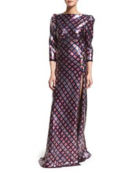 Marc Jacobs 3 4 Sleeve Embellished Open Back Gown Navy