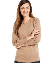 Jm Collection Crew Neck Solid Button Sleeve Sweater Acorn Heather