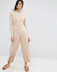 Neon Rose Relaxed Long Sleeve Wide Leg Jumpsuit In Rib Beige