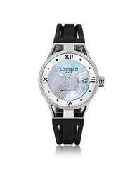 Locman Montecristo Stainlees Steel And Mother Of Pearl W Silicone Strap Women's Watch Black