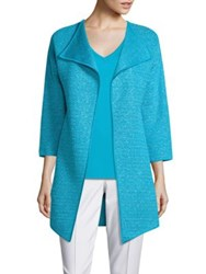 St. John Metallic Knit Jacket Aqua