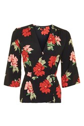 Topshop Red Floral Wrap Top Black