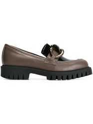 Pollini Embellished Loafers Brown
