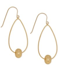Macy's Oval Hoop Beaded Drop Earrings In 10K Gold Yellow Gold